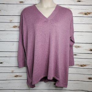 Sweater 1X Purple V Neck Long Sleeve Tunic